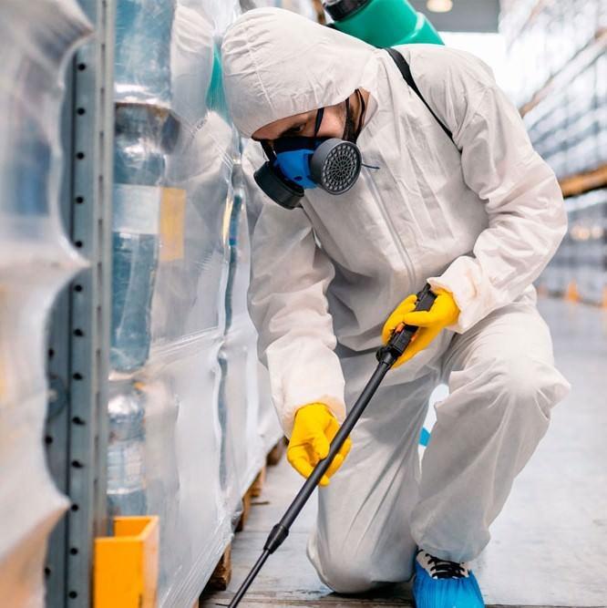 Дезинфектор обеззараживает палеты с товаром на складе