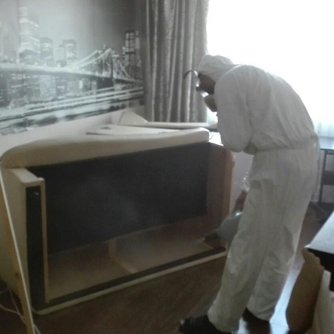 Процесс обработки от клопов холодным туманом